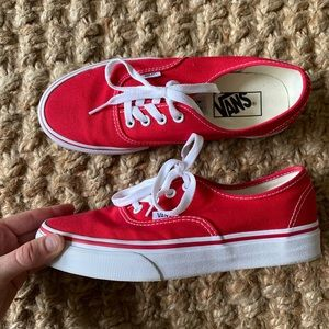 Red Vans Authentic 7 (7.5)